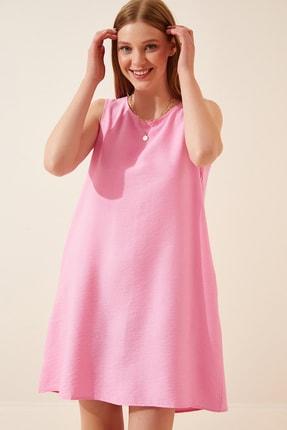 Happiness İst. Kadın Pembe Kolsuz Keten Viskon Çan Elbise JH00005