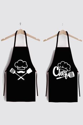AYSHOME Siyah Chefs Ikili Leke Tutmaz Kumaş Mutfak Önlüğü