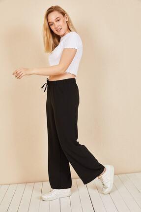 Moda Bu Huban Moda Kadın Siyah Beli Lastikli Bol Paça Salaş Yazlık Pantolon Aerobin-865829