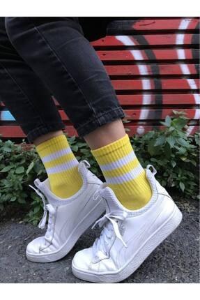 Socks Story Sarı Beyaz Çizgili Tenis Çorabı