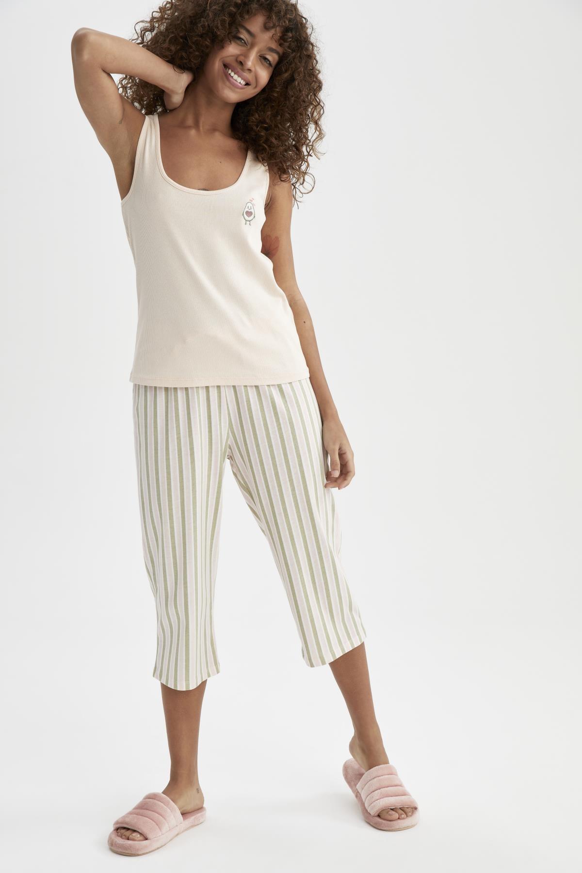 DeFacto Kadın Pembe Regular Fit Kolsuz Kapri Pijama Takımı U4905AZ21SM