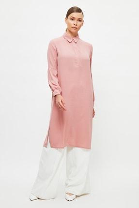 Trendyol Modest Pembe Gömlek Yaka Tesettür Tunik TCTSS21TN0050