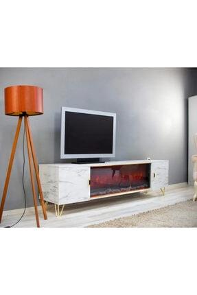 beyaz şömine Elektrikli Tv Üniteli Şömine