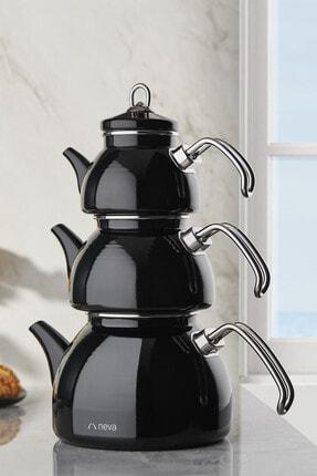 Neva Nv10021 Siyah Emaye 3 Katlı Çaydanlık Takımı