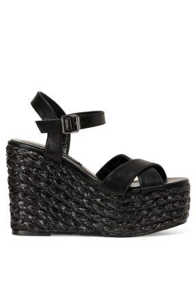 Nine West WIEMA 1FX Siyah Kadın Dolgu Topuklu Sandalet 101030114