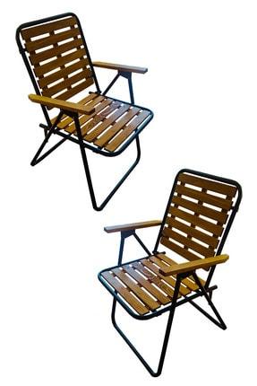 Tedarikcenter 2 Adet Kamp Sandalyesi Katlanır Sandalye Ahşap Piknik Sandalyesi Plaj Sandalyesi-meşe