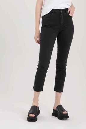 Replay Kadın Siyah Faaby Yüksek Bel Cigarette Crop Fit Yıkamalı Jeans