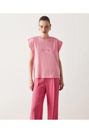 İpekyol Kadın Pembe Vatkalı Tişört