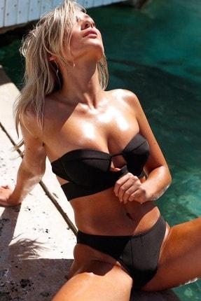 Angelsin Kadın Siyah Straplez Bikini Takım