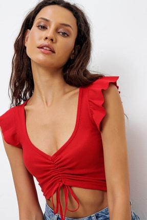Trend Alaçatı Stili Kadın Kırmızı Kare Yaka Önü Büzgülü Crop İnce Fitilli Bluz ALC-X6417