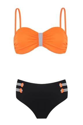 Bellisa Yüksel Belli Soft Kaplı Straplez Bikini Oranj