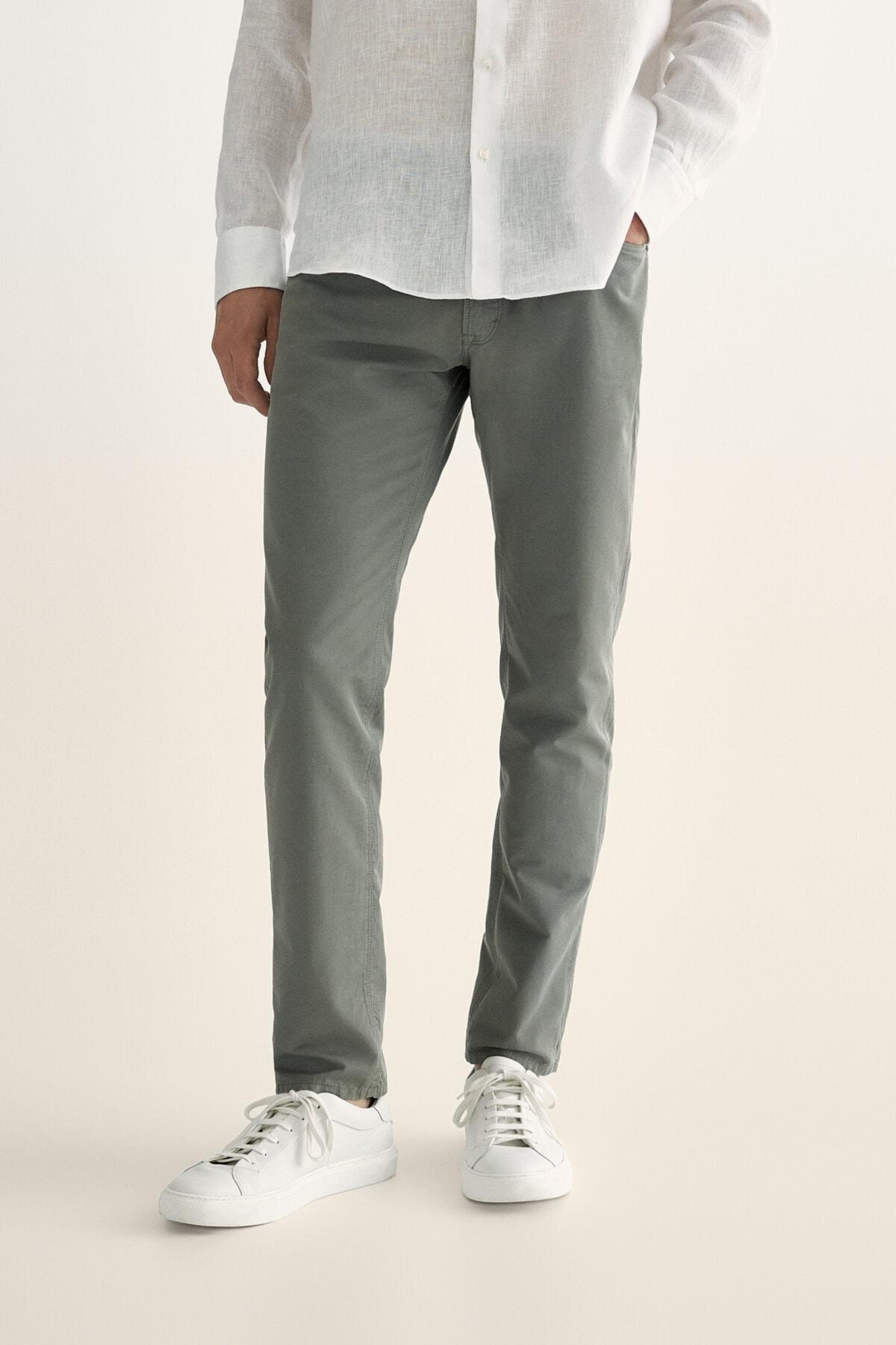 Massimo Dutti Erkek Pamuklu Keten Casual Fit Denim Görünümlü Pantolon 00042052