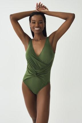 Dagi Kadın Yeşil V Yaka Mayo