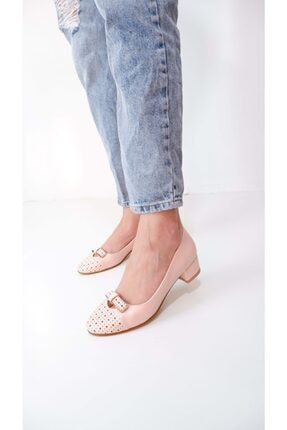 BasmakShoes Kadın Pudra Fiyonk Detaylı Topuklu Ayakkabı
