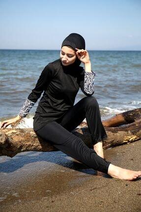 Marina Kadın Siyah Kolu Zebra Desenli Tam Kapalı Tesettür Mayo R1011