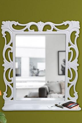 Hediyeler Kapında Dekoratif Ahşap Çerçeveli Beyaz Makyaj Ve Duvar Aynası