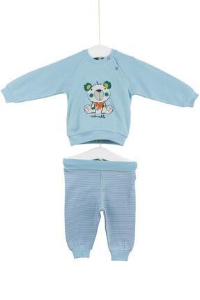Aziz Bebe Erkek Bebek Ayıcıklı Alt Üst 2li Takım 0-6 Ay Azz002017