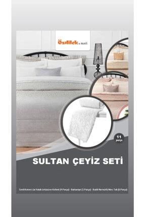 Özdilek Sultan Evlilik Seti Yatak Örtüsü Gümüş