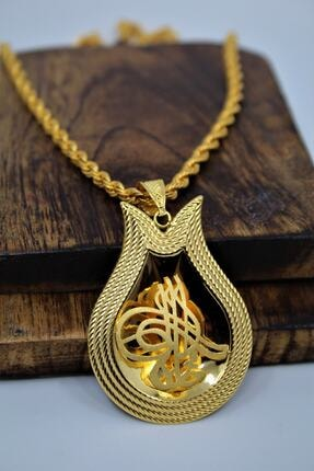 Yıldız Kuyumculuk Kadın Sarı Altın Osmanlı Tuğralı Çerçeveli Kolye 14 Ayar