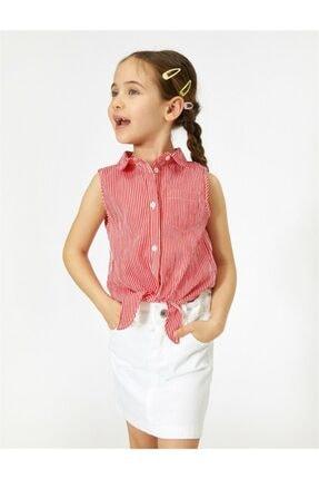 Koton Kids Kız Çocuk Kırmızı Çizgili Gömlek