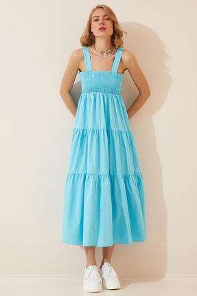 Happiness İst. Kadın Turkuaz Askılı Büzgülü Yazlık Uzun Poplin Elbise YJ00005
