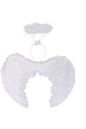 Samur Beyaz Renkli Tüylü Bebek Melek Kanadı Ve Tacı 30x45 Cm