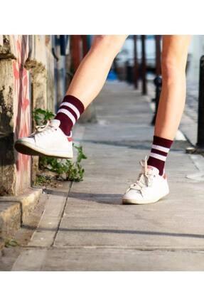 Socks Story Bordo Beyaz Çizgili Tenis Çorabı