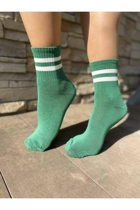 Socks Story Yeşil Beyaz Çizgili Tenis Çorabı