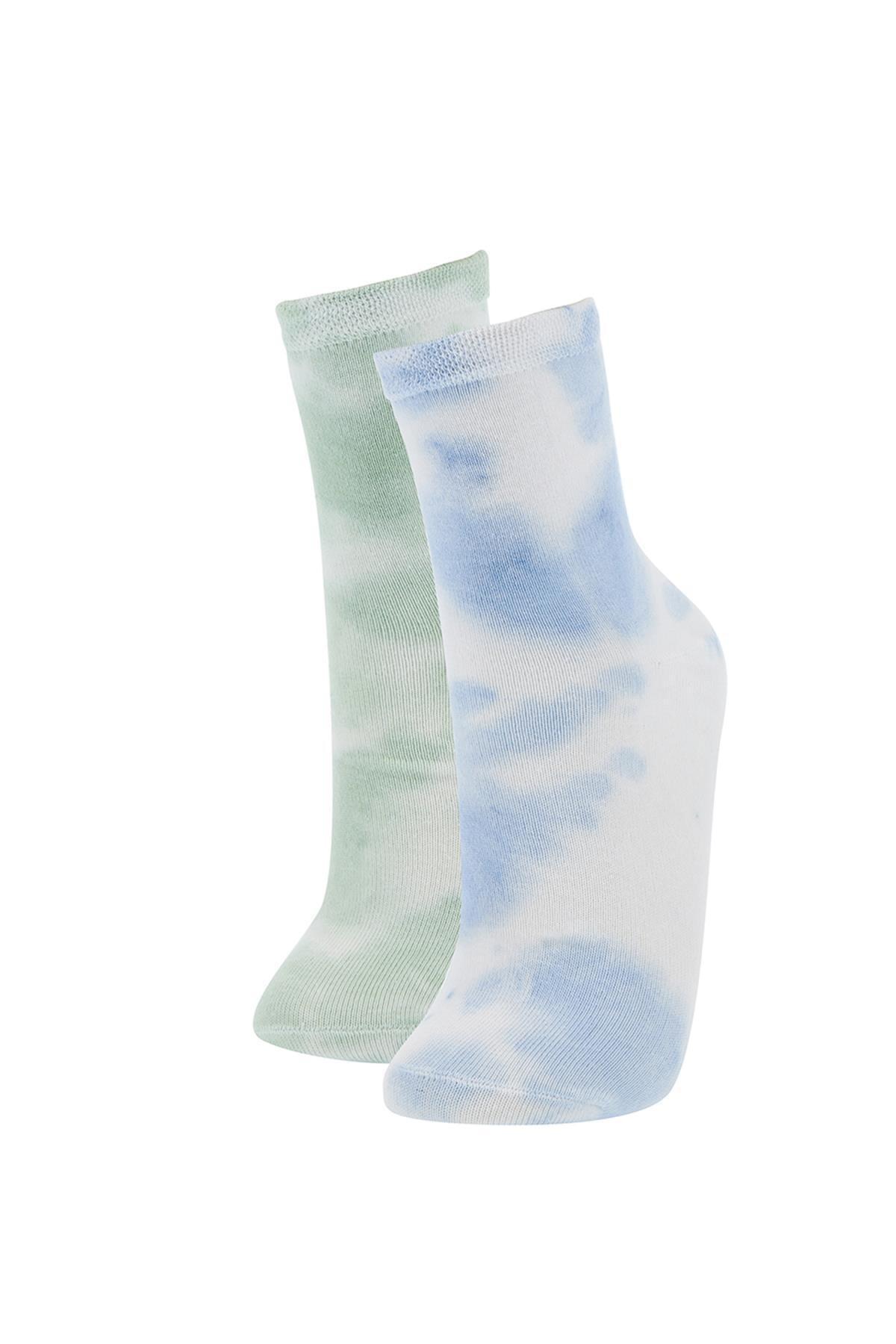 DeFacto Kadın Yeşil Batik Desenli 2'li Soket Çorap V0565AZ21SP
