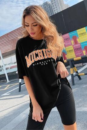 twentyone Kadın Siyah Oversize Michigan Baskılı T-shirt