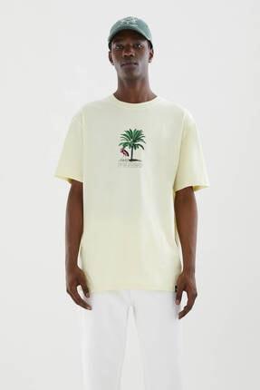 Pull & Bear Palmiye Görselli Sarı T-shirt