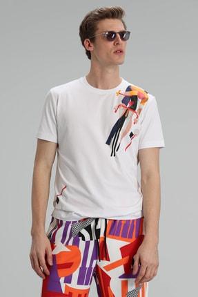 Lufian Apple Modern Grafik T- Shirt Beyaz