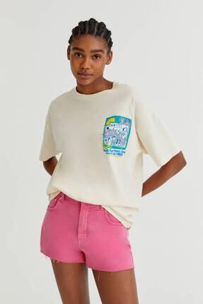 Pull & Bear Kadın Beyaz Palmiyeli Grafik Baskılı T-shirt