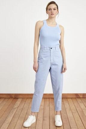 Love My Body Kadın Mavi Dikiş Detaylı Pantolon