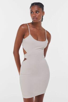 Bershka Kadın Bej Tanga Pencere Detaylı Askılı Elbise