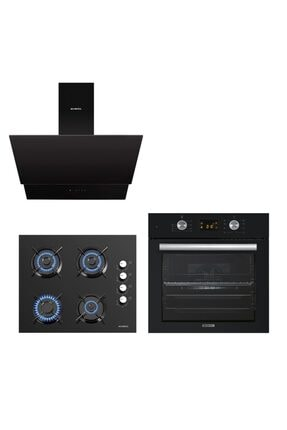 KUMTEL Siyah Cam Digital / Dokunmatik Ankastre Set - 8 Prog