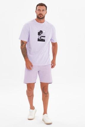 TRENDYOL MAN Lila Erkek Geniş Kesim Kısa Kollu T-Shirt TMNSS21TS3667