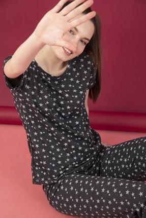 STRAWBERRY Kadın Antrasit Pamuklu Baskılı Kısa Kol Pijama Takım