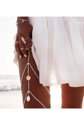 Fenomenya Kararmaz Ve Gümüş Renk Antik Paralı Bacak Zinciri Ve Takısı