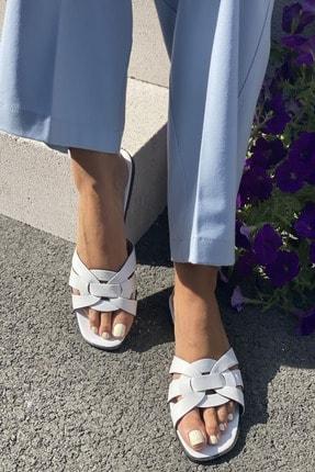 İnan Ayakkabı Kadın Beyaz Çaprazlama Bant Detaylı Terlik