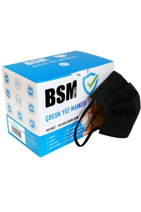 BSM Siyah Medikal Çocuk Maskesi 50 Adet