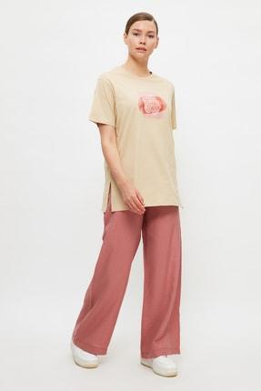 Trendyol Modest Bej Baskılı Örme T-Shirt-Tunik TCTSS21TN0272