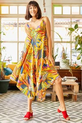 Olalook Kadın Sarı Palmiye Askısı Bağlamalı Cepli Dokuma Viskon Tulum TLM-19000116