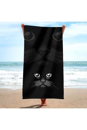 ALL OVER 85x150 Plaj Havlusu-siyah Kedi