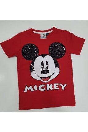 Mickey Mouse Kırmızı Renk %100 Pamuk Desenli Tişört
