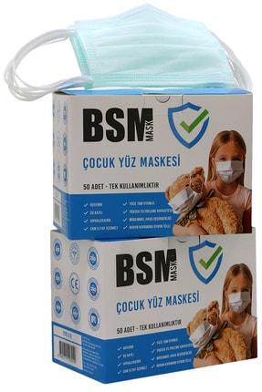 BSM Yeşil (MİNT) Yassı Lastikli 3 Katlı Cerrahi Çocuk Maskesi Toplam 100 Adet