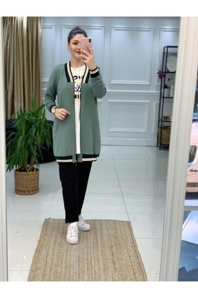 Camelya Fashion Kadın Yeşil Tesettür 3'lü Eşofman Takımı