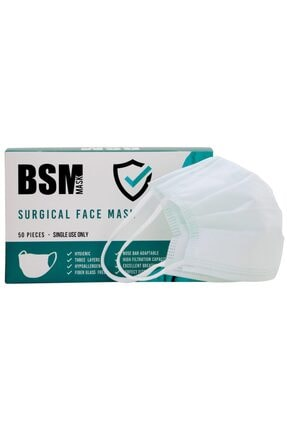 BSM Yeşil (Mint) 3 Katlı Yassı Lastikli Meltblown Cerrahi Maske Toplam 50 Adet