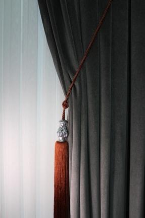 ŞİRİNLER Luxury Tavan Braçol (Tarçın) Yaprak Gümüş - Lüks Fon Perde Korniş Bağlama Aksesuarı