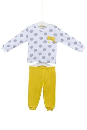 Aziz Bebe Kız Bebek Beyaz Pamuklu İkili Takım 9427